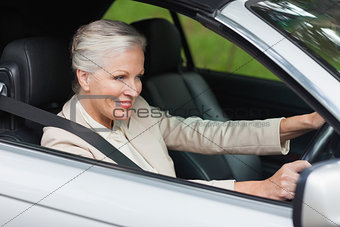 Smiling businesswoman driving classy car