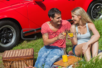 Cheerful couple sitting on the grass having picnic together