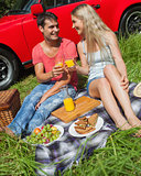 Cheerful couple sitting having picnic together