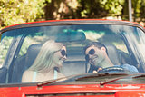 Loving couple in their red cabriolet having a ride