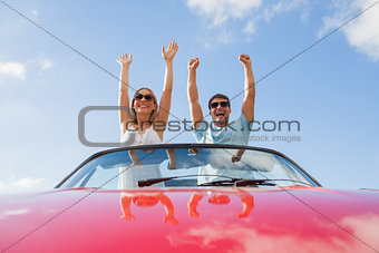Crazy couple standing in red cabriolet
