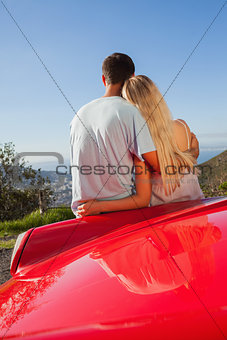 Pretty couple hugging and admiring panorama