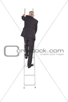 Businessman climbing career ladder