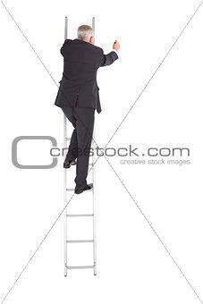 Mature businessman climbing career ladder