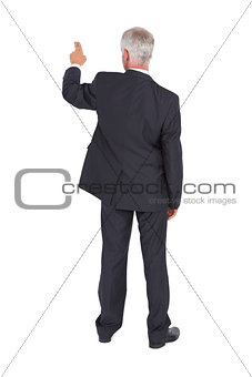Rear view of classy mature businessman pointing finger