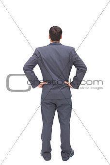 Businessman standing back to camera hands on hip