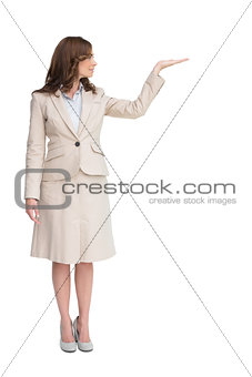 Businesswoman with empty hand open
