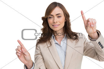 Businesswoman posing with fingers up