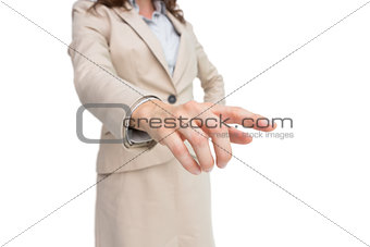 Stylish businesswoman touching invisible screen