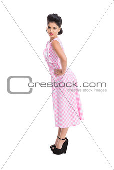 Beautiful woman with retro style posing