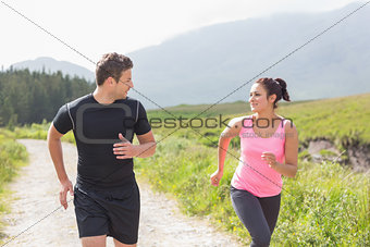 Athletic couple on a jog