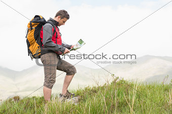 Handsome hiker with backpack hiking uphill reading a map