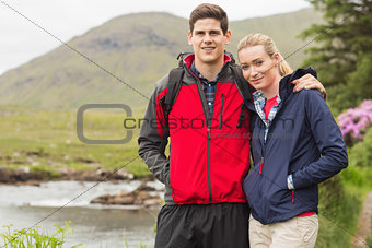 Fit couple on a hike