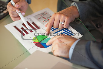 Business team going over data and graphs