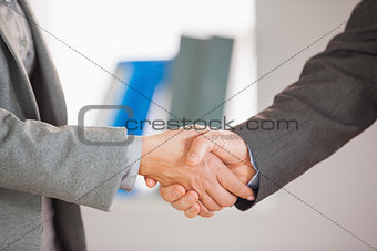 Two people having a handshake in an office