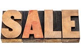 sale word in wood type