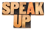 speak up in wood type