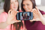 Two happy girls sitting on a sofa taking a photo of themselves with a mobile phone