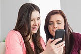 Two happy girls sitting on a sofa and typing on a mobile phone
