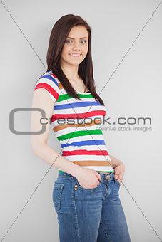 Smiling girl posing and looking at camera