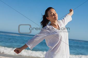 Calm woman stretching