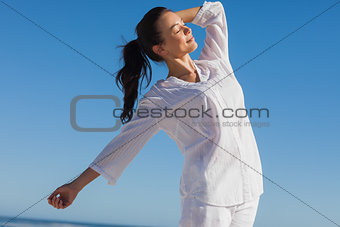 Close up view of woman enjoying the sun