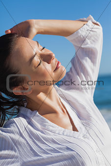 Close up view of woman enjoying the heat