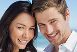 Close up view of couple smiling at camera