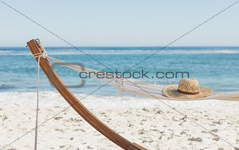 Shot of a straw hat lying on hammock