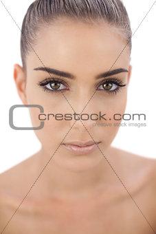 Stern woman looking at camera