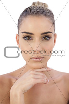 Concentrated woman looking at camera