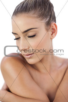 Thinking woman closing her eyes