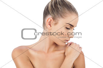 Close up of a cute woman closing her eyes