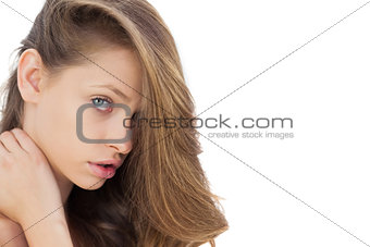 Charming brunette posing looking at camera