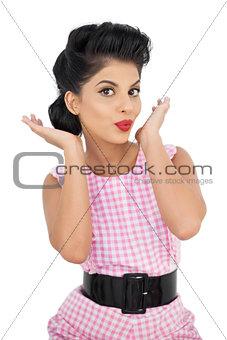 Attractive black hair model looking at camera