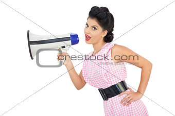 Attractive black hair model using a megaphone