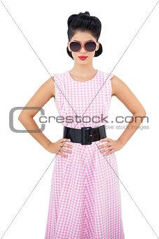Calm black hair model wearing sunglasses