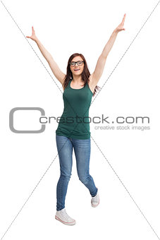 Cheerful young woman with glasses gesturing