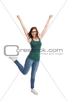 Happy young woman with glasses gesturing