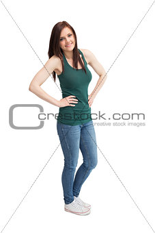Cheerful casual woman posing