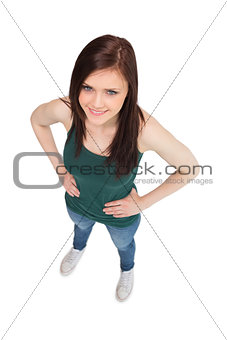 High angle view of cheerful casual woman posing