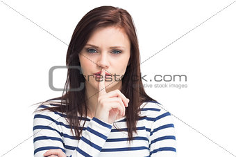 Content young brunette keeping secret
