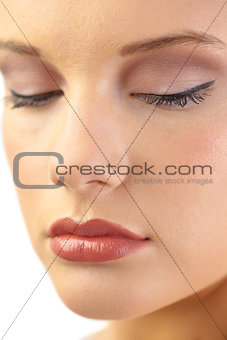 Close up on gorgeous blonde models closed eyes