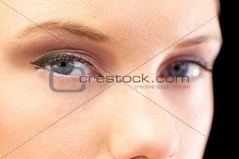 Close up on beautiful models blue eyes