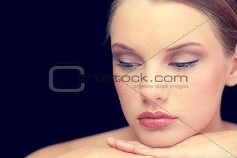 Thoughtful sensual blonde posing