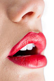 Extreme close up on open sensual red lips