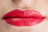 Extreme close up on sensual red lips