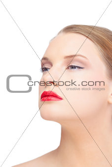 Sensual blonde model wearing red lips