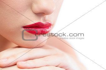 Close up on gorgeous models red lips