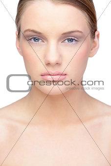 Gorgeous blonde model wearing natural make up